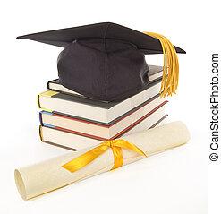 ouro, livros, grad, boné, diploma