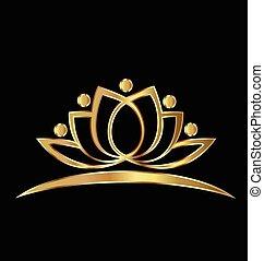 ouro, loto, ioga, pessoas, logotipo