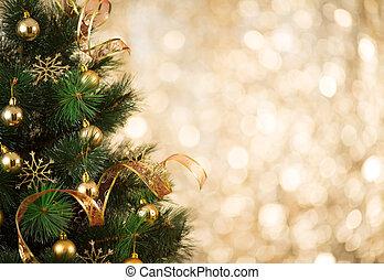 ouro, luzes árvore, defocused, fundo, decorado, natal