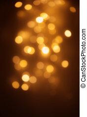 ouro, luzes natal, experiência., abstratos, amarela,...