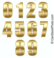ouro, metal, número
