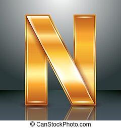ouro, metal, -, n, letra, fita