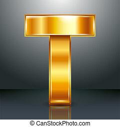 ouro, metal, -, t, letra, fita