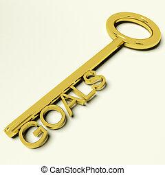 ouro, metas, tecla, aspirações, representando, alvos
