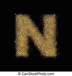 ouro, n, letra, pó, fonte, tipo