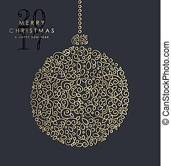 ouro, natal ano novo, ornamental, bauble