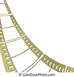 ouro, negativo, película, isolado, branco, fundo