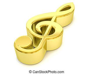 ouro, nota música, símbolo