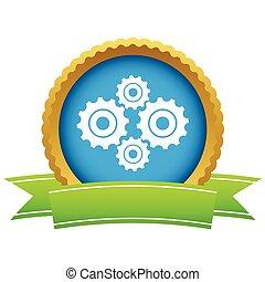 ouro, novo, mecanismo, logotipo
