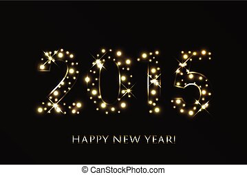 ouro, novo, vetorial, fundo, ano, 2015, faíscas, feliz