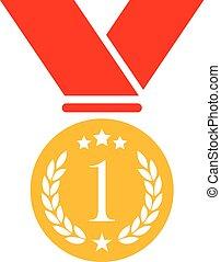 ouro, numere um, vetorial, medalha, ícone