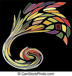 ouro, ornamento, espiral, coloridos, contemporâneo