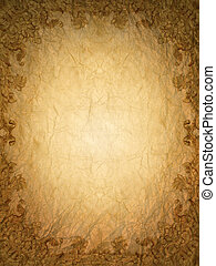 ouro, ornamento, flor, quadro, vindima, em, antigas, papel