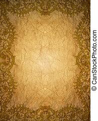 ouro, ornamento, flor, quadro, vindima, em, antigas, paperbackground