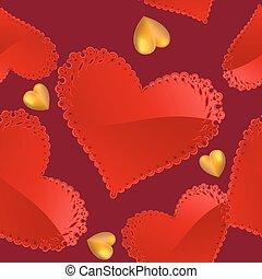 ouro, padrão, corações, vermelho, dia, valentine