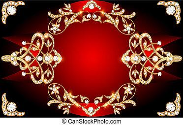 ouro, padrão, imagem, fundo, pedras, precioso