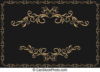 ouro, padrão, ornamento, ilustração, luxo, fronteiras