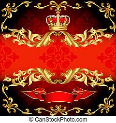 ouro, padrão, quadro, corona, fundo, vermelho