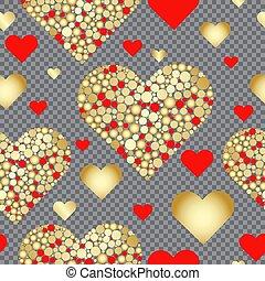 ouro, padrão, seamless, valentine, corações, vermelho