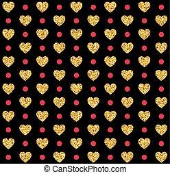 ouro, padrão, valentines, seamless, ilustração, vetorial, fundo, corações, black., dia