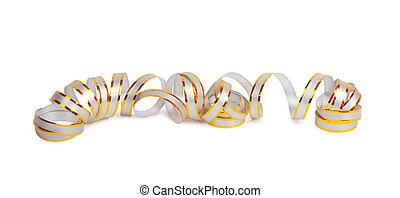 ouro, papel, horizontais, fita, ligado, a, branca, isolado,...