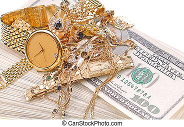 ouro, para, dinheiro