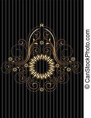 ouro, patterned, quadro, com, openwork
