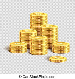 ouro, pilhas, moedas, sinal dólar, brilhante
