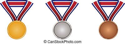 ouro, prata, e, bronze, medalhas, com, pescoço, fita