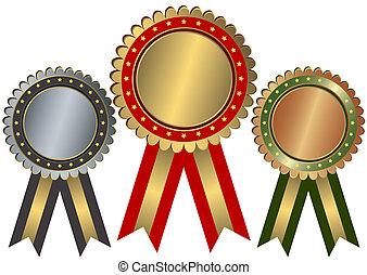 ouro, prata, e, bronze, recompensas, (vector)