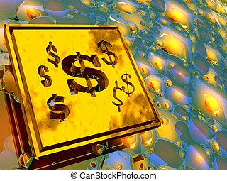 ouro, prato, dólar, signs.