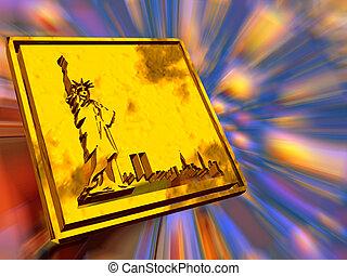 ouro, prato, liberdade, statue.