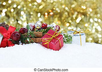 ouro, presente, neve, contra, luzes, bokeh, decorações, fundo, natal