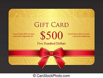 ouro, presente, vindima, cartão, padrão, floral, fita, ...
