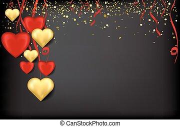 ouro, pretas, confetti, corações, fitas, vermelho
