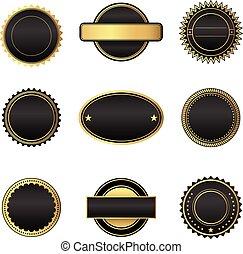 ouro, pretas, emblemas