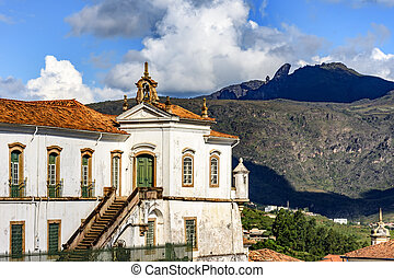 Ouro Preto city, church and hills - Top view of historic...