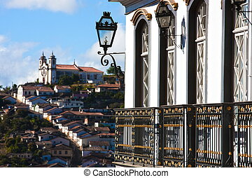 Ouro Preto cityscape - view of the unesco world heritage...