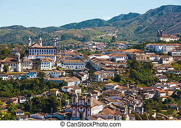 Ouro Preto cityscape - view of the unesco world heritage...