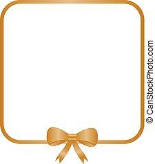ouro, quadrado, quadro, com, decorativo, dourado, bow.
