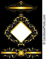 ouro, quadro, antigüidades, estilo