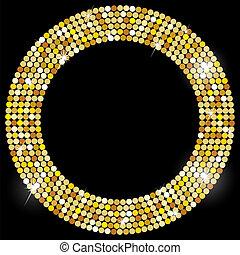 ouro, quadro, com, espaço, para, seu, texto