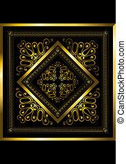 ouro, quadro, com, openwork, ornamento