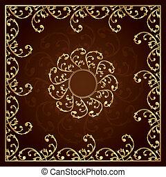 ouro, quadro, com, vindima, elementos florais