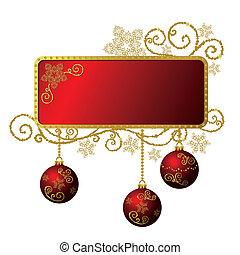 ouro, &, quadro, isolado, natal, vermelho
