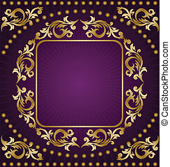 ouro, quadro, ligado, experiência roxa