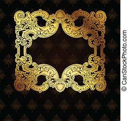 ouro, quadro, ligado, marrom, ornate, fundo