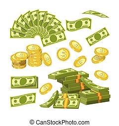 ouro, quantidades, dinheiro, moedas, papel, grande