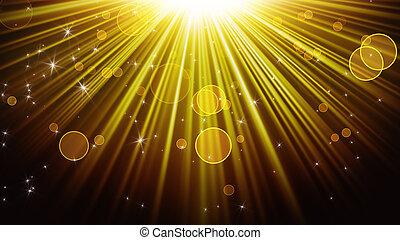 ouro, raios luz, e, brilhar, estrelas, abstratos, fundo