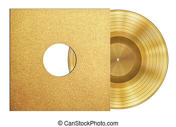 ouro, registro, música, disco, distinção, em, manga, isolado